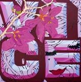 V.I.C.E. (original work) by Louise Dear, Painting, Mixed media: gold leaf glitter gloss paint grafitti on aluminium