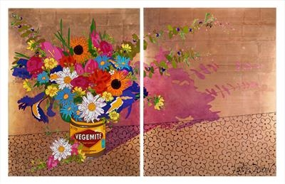 Pom Pom Posy Installation for Daisy Green Restaurant, London by Louise Dear, Painting, mixed media gloss paint and gold copper leaf on aluminium