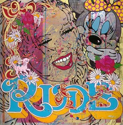 rude by Louise Dear, Painting, mixed media gloss paint and gold leaf on aluminium